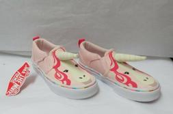 Vans Asher V Pink Unicorn w/Horn Slip-On Skate Shoes Kids Si