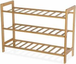 9HORN Bamboo Shoe Rack Organizer Wooden Bench Storage Shelf