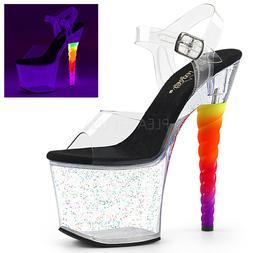 clear platform stripper heels rainbow unicorn horn