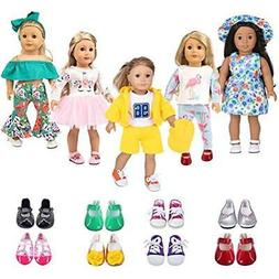 Dolls Ebuddy 5 Sets Clothes 2 Pairs Shoes,Hat,Hair Band Horn
