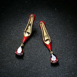 Earrings Nails Gold Plated Enamel Red Zircon Shoe Horn Heel