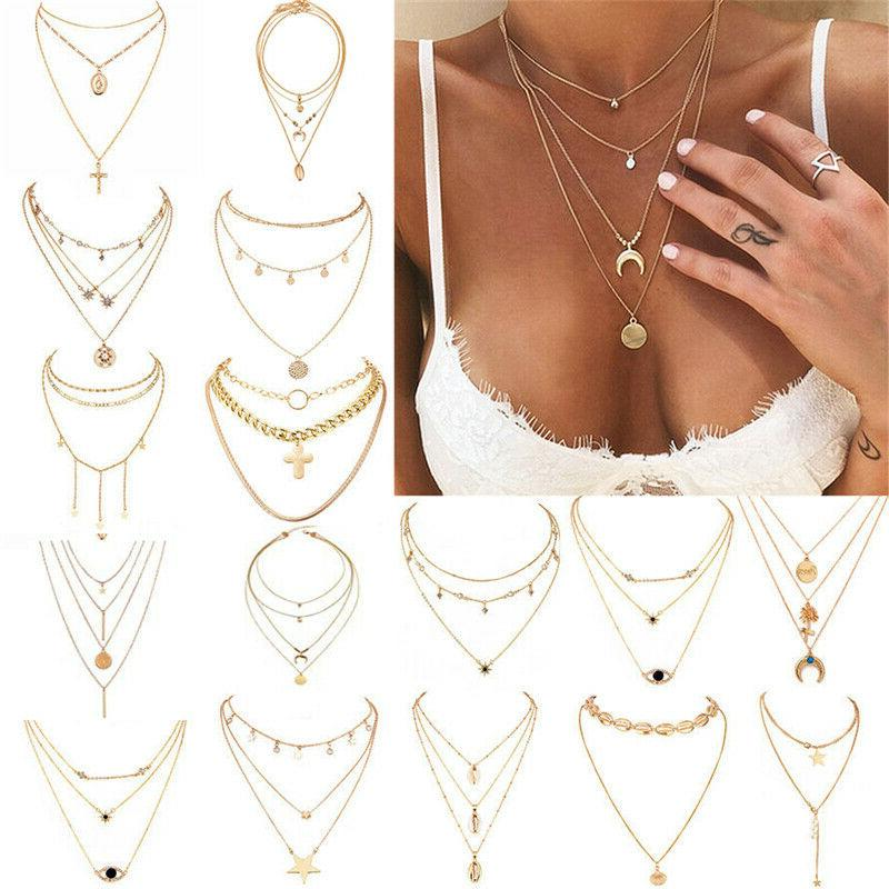 boho women multi layer long chain pendant