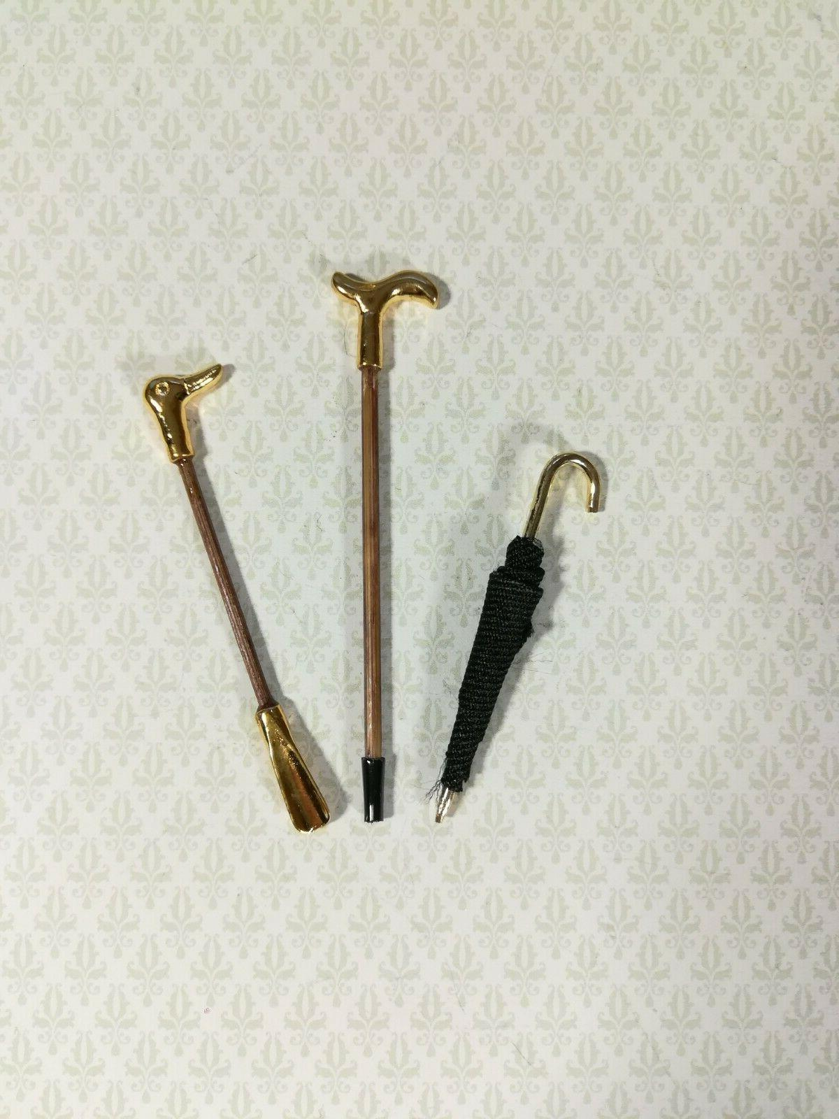 dollhouse miniature walking cane umbrella and duck