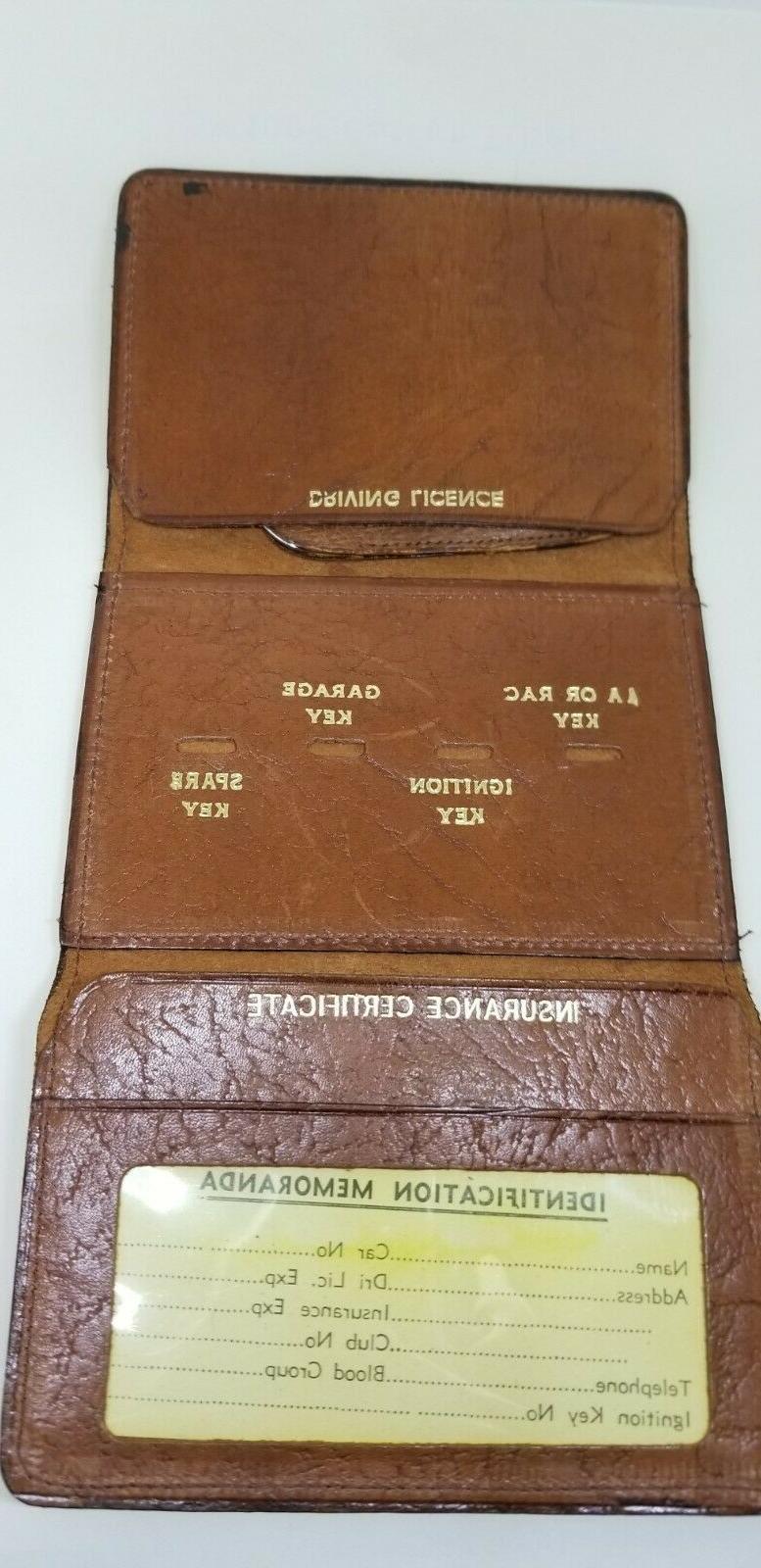 English Vintage Wallet Gold Stamped with Horn/Bottle