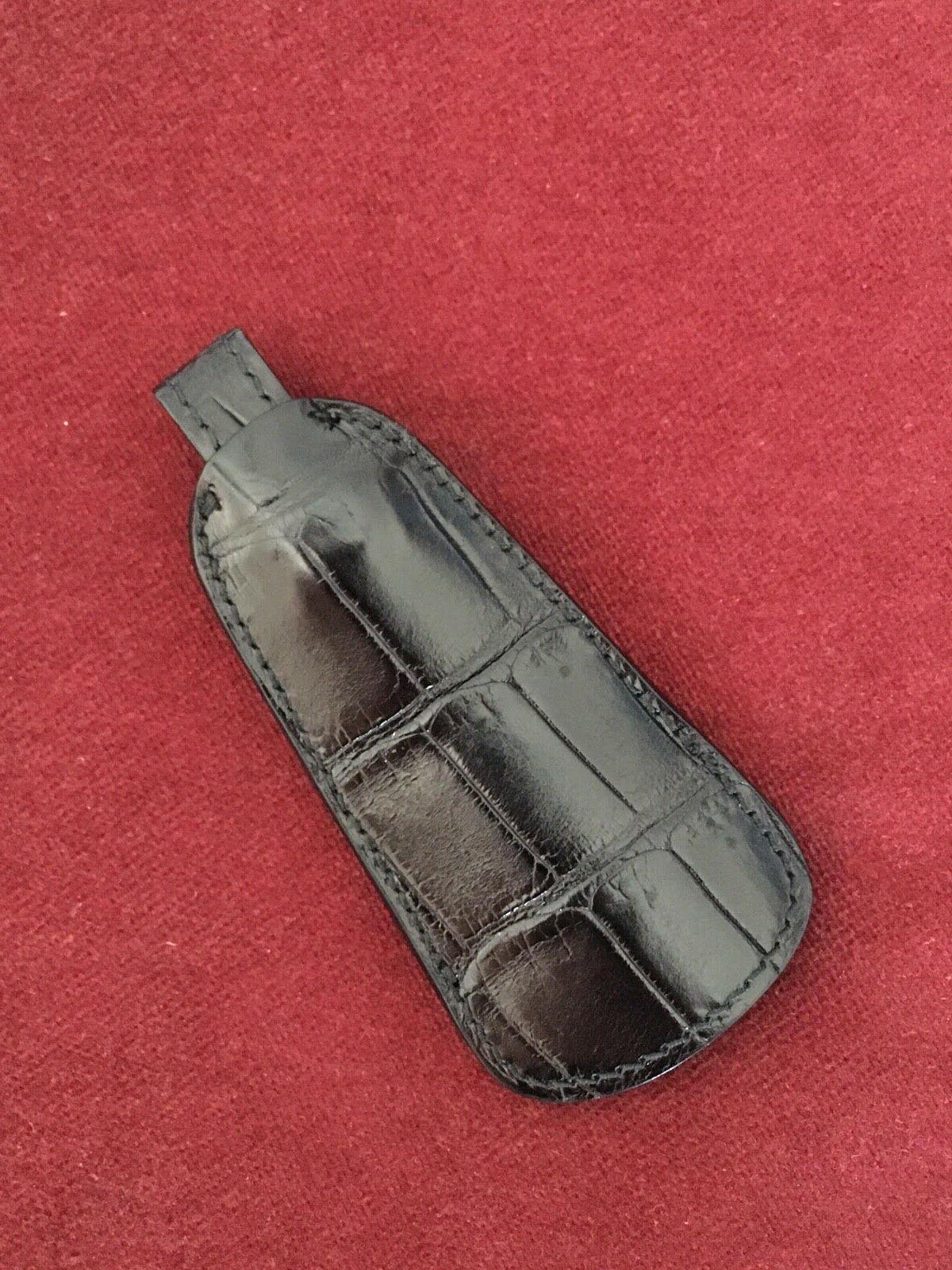 Genuine Black Crocodile leather shoes horn travel