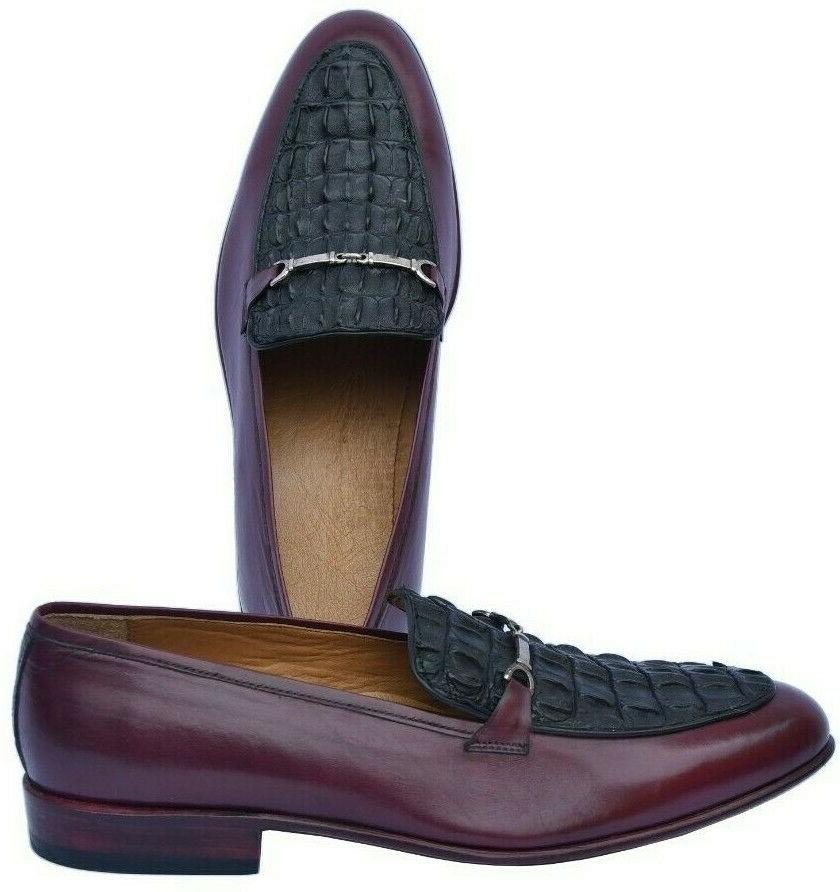 luxury maroon bit loafer black horn back