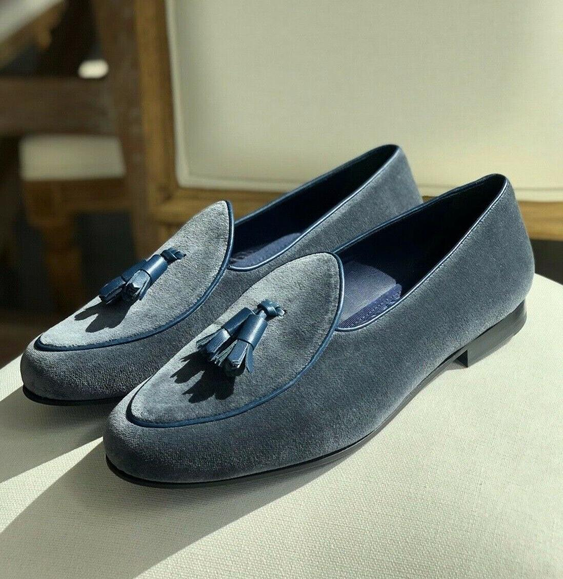 mens gray velvet belgian loafers incl shoe