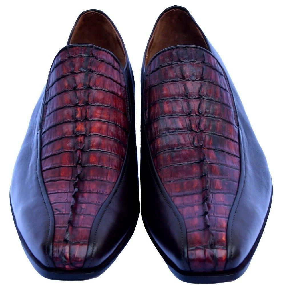 Monarch Reddish Brown Horn Back Tail Moccasin Real Crocodile
