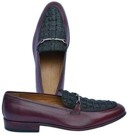 Luxury Maroon Bit Loafer Black Horn-Back Real Crocodile Leat