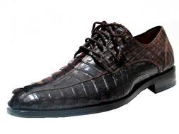 Toscana Men's 6241 Alligator Horn Back Lace up Shoes, black