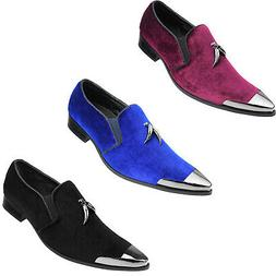 Men's Metal Tip Loafer Slip-On Dress Velvet Shoe w/ Metallic