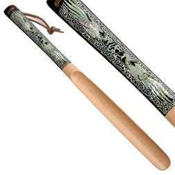 Mother of Pearl Inlay Art Phoenix Long Wood Handle Shoe Horn