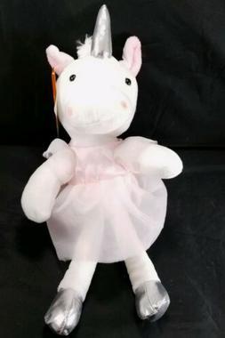 Princess Unicorn Ballerina Plush Stuffed Animal Pink Silver