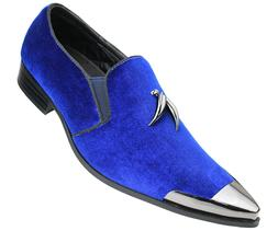Royal Blue Velvet Horn Tassel Gun Metal Tip Slip on Dress Tu
