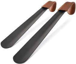 ZOMAKE Set of 2 Long Handled Shoe Horn with Leather Strap St