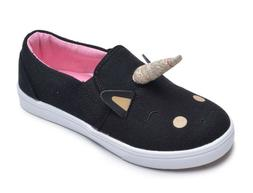 Toddler Girls Black Unicorn Low Top Canvas Slip On Sneakers