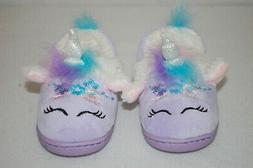 Toddler Girls UNICORN SLIPPERS Glitter Horn PURPLE PINK AQUA