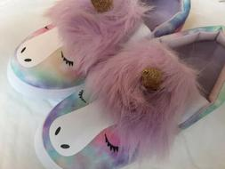 UNICORN SLIP-ON SHOES 3D purple hair and sparkly gold horn,