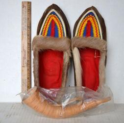 Vintage FINLAND Lapland REINDEER FUR SHOES Slippers Moccasin